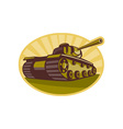 World war two battle tank aiming cannon vector
