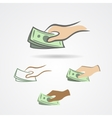 Hand with some money symbol collection vector