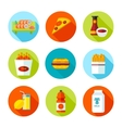Set of flat grocery and food icons vector