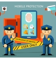 Mobile phone protection financial security and vector