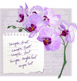 Card with flower orchid vector