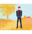 Handsome young man walking in autumn day vector
