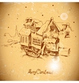 Vintage greeting card with winter landscape vector