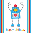 Cute birthday robot vector