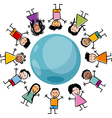 Children and globe cartoon vector