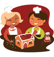 Children making gingerbread house vector
