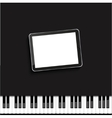 Modern computer tablet on piano vector