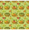 Seamless pattern baskets and fruits vector
