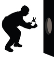 Man with scissors is going to the hole in the wall vector