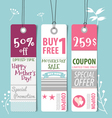 Sale coupon voucher tag happy mothers day vector