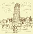 Leaning tower of pisa vintage vector