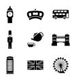 Black london icons set vector