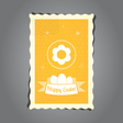 Postage stamp easter yellow vector