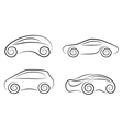 Set of silhouettes of conceptual cars vector
