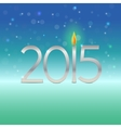 Happy new year 2015 card with candle flame vector