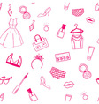 Fashion seamless pattern dress ear rings lipstick vector