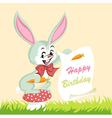 Happy birthday card cute bunny vector