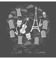 Background tour eiffel on chalkrboard vector
