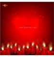 Two red burning heart shaped candles on dark red b vector