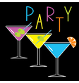 Set of three glasses with cocktails party card vector