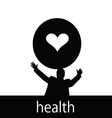 Health with man and heart silhouette vector