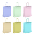 Six empty shopping paper bags in pastel colors vector