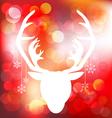 Christmas reindeer on red bokeh background vector
