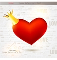 Beautiful red heart with crown valentines day back vector