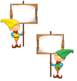 Elf mascot holding wooden sign vector