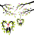 Birds on tree in heart nest vector