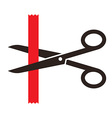 Scissors cutting a red ribbon vector