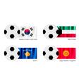Soccer ball with south korea kuwait kosovo flag vector