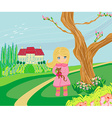 Little girl is walking walking in spring day with vector