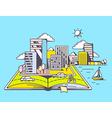 Cartoon open book with modern city on blu vector