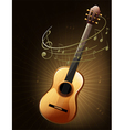 A brown guitar with musical notes vector