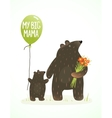 Mother bear and her baby childish animal cartoon vector
