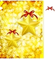 Christmas gold background with bow stars and vector