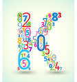Letter k colored font from numbers vector