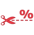 Red scissors with percentage and dotted line vector