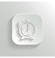 Alarm clock icon - white app button vector