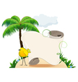Tropical island with bird and scroll for text vector
