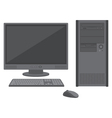 Desktop computer with lcd monitor keyboard and vector