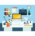 Flat modern design concept of office workspace vector