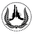 Two revolvers and a wreath vector