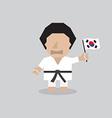 Taekwondo man with south korean flag vector