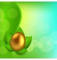 Easter background with egg in leaves vector