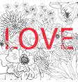 Inscription love on floral background vector