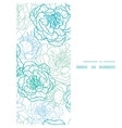 Blue line art flowers vertical frame seamless vector