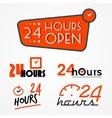 Twenty four hours labels set vector