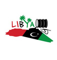 With map and flag of libya and oil barrel vector